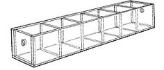 """Narrow Tray with Six 1 3/4""""-wide compartments. 2"""" H x12"""" W x 2-1/2"""" D"""