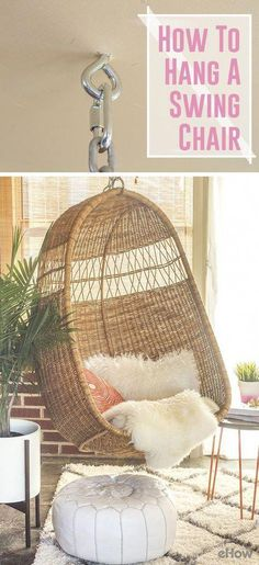 Hang A Vintage Or Retro-Inspired Basket Chair For A Completely Comfortable And Stylish Addition To Your Favorite Room. The Process Takes Only 30 Minutes Steps Here: Hammock Chair, Diy Chair, Swinging Chair, Chair Cushions, Indoor Swing, Diy Hanging, Ceiling Hanging, Hanging Chairs, Swing Chairs