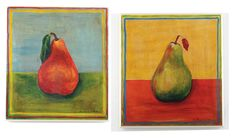 Oversized Red and Green Pears 2 pc Kitchen Wall Plaque Set