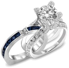 Interchangeable Princess Cut Created White Sapphire with Sapphire Sidestone Rhodium Plating Sterling Silver Women's