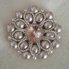 My bezelled rivoli pendant with lovely pearls / beaded by Emel Bas