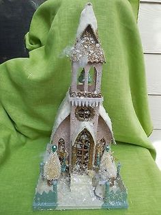 Vintage Inspired Mica Village Church~Putz house~Glitter~New~Large Pink Church