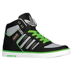 Black high tops with a hint of green