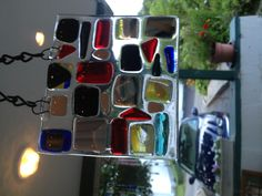 Fused glass sun catcher colorful glass with dichroic