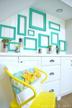pantone color of the year frame wall at Tatertots & Jello