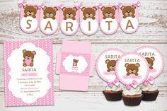 Kit Imprimible Osita Corazón Rosa Bautismo 1 Añito Nena Nacimiento Baby Shower