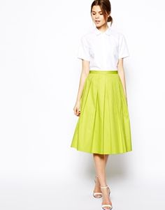 ASOS Full Midi Skirt In Cotton - both colors great! skirt fits well too, wish the skirt came in more colors, I would have bought them all :)