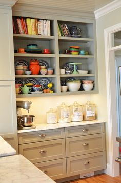 Kitchen Inspiration: Gray Cabinets, Open Shelves, and a Desk - Jump Start Your Joy