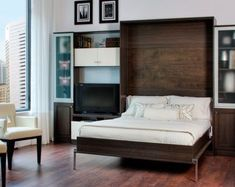 Small Interior Space Featured Modern Murphy Bed Design And Glass Bookshelf Door Idea Plus Comfortable Armchairs