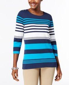 Karen Scott Petite Striped Three-Quarter-Sleeve Top, Created for Macy's - Blue P/XL
