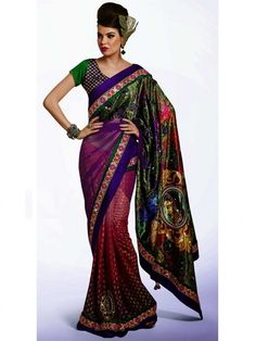 Multi Color Digital floral Print with Embroidery work Saree #Saree