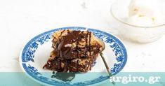 Μπακλαβάς με σοκολάτα, μπανάνα και καραμελωμένο φύλλο από την Αργυρώ Μπαρμπαρίγου | Διαφορετικός, μαγικός συνδυασμός. Συνοδέψτε τον με παγωτό! Puff Pastry Desserts, Syrup, Cake, Recipes, Food, Food Cakes, Eten, Cakes, Recipies