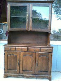 this blogger remade an old outdated hutch into an amazing new china cabinet!