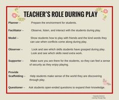 The role of the teachers in this pin is divided into seven topics: a planner, . - The role of the teachers in this pin is divided into seven topics: a planner, a faci … – play i - Inquiry Based Learning, Early Learning, Student Learning, Preschool Classroom, Preschool Activities, Emergent Curriculum, Learning Stories, Classroom Environment, Learning Through Play