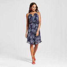 Women's Printed Halter Dress Navy Floral XS - Merona, Xavier Navy