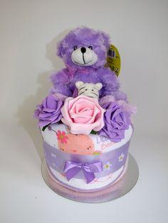 Baby girl nappy cake - http://www.ebay.co.uk/itm/Baby-girl-nappy-cake-baby-shower-present-maternity-gift-purple-teddy-/201516897897?ssPageName=STRK:MESE:IT