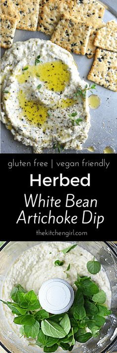 Healthy Snacks Healthy dip for any occasion! Herbed White Bean Artichoke Dip (leave out with feta cheese) - A zesty blender dip with artichokes, white beans, feta cheese, and fresh herbs. Vegan Appetizers, Vegan Snacks, Appetizer Recipes, Dinner Recipes, Vegetarian Recipes, Cooking Recipes, Healthy Recipes, Vegetarian Barbecue, Barbecue Recipes