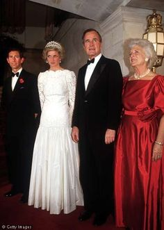 Charles And Diana With President Bush First Lady Barbara During The 1985 Royal Visit