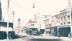 Redfern St,Redfern,in inner Sydney at the corner of Renwick St in 1909. •City of Sydney Archives•
