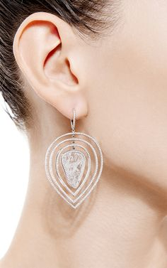 One Of A Kind Three Tier Movable Diamond Slice Earrings by Susan Foster for Preorder on Moda Operandi