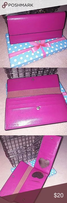 📢HURRICANE IRMA SALE📢 LEATHER WALLET Gorgeous Pink Leather Wallet ...will hold 20+ cards ... Has two places that are Heart shaped that you can put pictures or ID in. As well as two slots for bills. Has snap closure. BNWT AND ORIGINAL BOX Yaluxe Bags Wallets