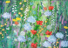 flowers, field, paint.