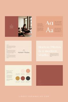 Typographic and color brand guidelines document created as part of brand design for a NYC based fitness studio. Brand Guidelines Design, Logo Guidelines, Brand Identity Design, Corporate Design, Brand Design, Collateral Design, Pilates Workout, Pilates Logo, Web Design