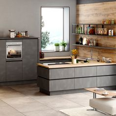 Lust auf eine topmoderne Küche, die klare Kante und starke, grifflose Fronten z. Would you like a state-of-the-art kitchen with clear edges and strong, handle-less fronts? Küchen Design, Interior Design, U Shaped Kitchen, Cuisines Design, Kitchen Art, Kitchen Flooring, Room Inspiration, Sweet Home, New Homes