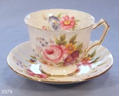Aynsley Fluted Summer Flowers Vintage Bone China Tea Cup and Saucer