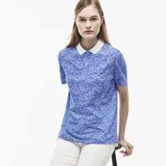 Lacoste LIVE polo in print mini piqué with contrast collar