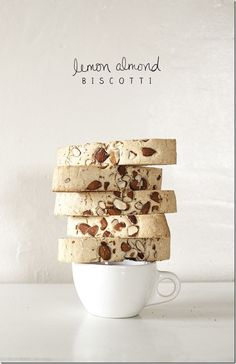 Thistlewood Lemon Almond Biscotti 21 TEXT 2 gorgeous food shot too No Bake Desserts, Just Desserts, Delicious Desserts, Dessert Recipes, Italian Cookies, Italian Desserts, Italian Foods, Tea Cakes, No Bake Cookies