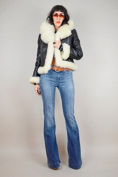 Vintage 1970's SHEARLING Black Leather Jacket by NOIROHIOVINTAGE