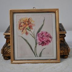 Antique French Watercolor Painting, Framed in Glass, Vintage Watercolor Floral Bouquet Painting, Gold Gilt Frame, Country Decor, French Art