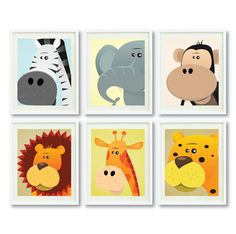 Safari Animals - Set of Six 8x10 Art Prints for Nursery,