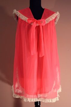 Bright Neon Pink Gown w Lacy Sailor Collar Sailor Collar, Pink Gowns, Nighties, Frou Frou, Vintage Lingerie, Coral Pink, Bedtime, Night Gown, White Lace