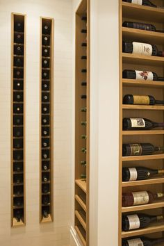 Eric Olsen Design, Interesting way to break up typical wine rack design: two divided, skinny vertical columns on back wall; Maybe put one in kitchen? Wine Rack Wall, Wine Wall, Wine Racks, Wine Shelves, Wine Storage, Wine Rack Design, Built In Wine Rack, Home Wine Cellars, Diy Wand