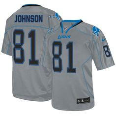 9e16e44b Nike Lions #81 Calvin Johnson Lights Out Grey Men's Stitched NFL Elite  Jersey Eli Manning