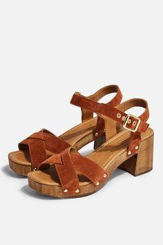 94c7bc28ed VERONICA Tan Leather Clog Sandals | Topshop Clog Sandals, Tan Sandals,  Leather Clogs,