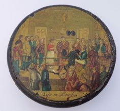 Antique Regency Papier Mache Snuff Box Cruikshank Print Life in London c1820