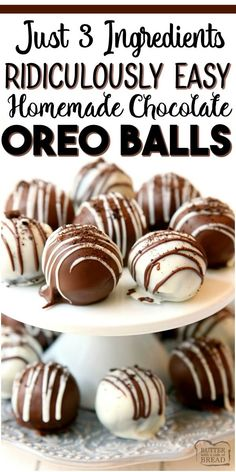 Easiest Ever OREO BALLS Oreo Balls Recipe made with just 3 ingredients & perfect easy dessert! Simple instructions show HOW TO MAKE OREO BALLS in minutes. So delicious, no one can guess they're made with Oreo cookies! Oreo Balls Recipe 3 Ingredients, Oreo Truffles Recipe, Cookie Balls Recipe, Truffle Recipe, Homemade Chocolate, Chocolate Recipes, Dessert Chocolate, Chocolate Truffles, Chocolate Oreo