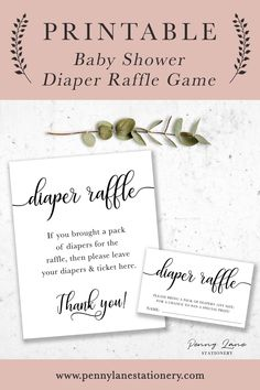 Add this classic (and gender neutral) card into your baby shower invitations and score some extra diapers with the diaper raffle game. Just put the diaper raffle sign on a table next to a jar or box to collect the tickets (and the diapers)! And these easy to download minimalist printables will make the game even easier. Just make sure you have lots of room for diapers!