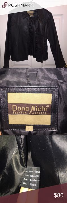 Dona Michi Leather Jacket 100 % Genuine leather. In excellent condition , barely worn. Great Christmas gift (: Jackets & Coats