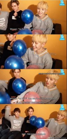 woozi at the last pic: if only i i can turn these balloons into a guitar...