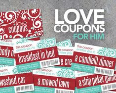 Surprise your husband with a stack of love coupons this Valentine's Day! The coupons are sized to fit inside a standard Altoids Tin for an instant keepsake. Perfect last minute printable Valentine's Day gift! By Studio 120 Underground. Diy Gifts For Him, Gifts For Wife, Love Coupons For Her, Printable Coupons, Printables, Reward Coupons, Gift Coupons, Love Scriptures, Thing 1