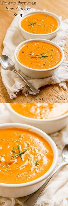 Tomato Parmesan Slow Cooker (Crock Pot) Soup - delicious vegetarian soup you& Crock Pot Recipes, Crock Pot Soup, Slow Cooker Soup, Crock Pot Cooking, Slow Cooker Recipes, Soup Recipes, Vegetarian Recipes, Cooking Recipes, Healthy Recipes