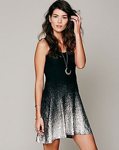 black dress with silver metallic ombre