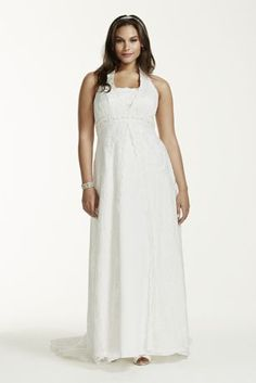 A Line Lace Plus Size Wedding Dress With Beading Style 9H9572