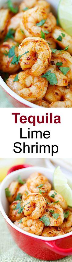 Tequila Lime Shrimp – shrimp with tequila, lime & cilantro! Crazy easy & budget friendly recipe, SO good and takes 15 mins to make | rasamalaysia.com