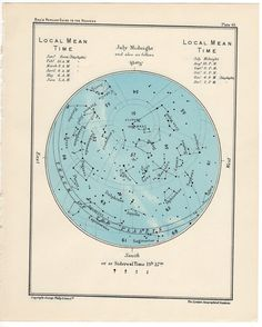 1955 july or august vintage star map celestial print. $25.00, via Etsy.