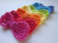 Crochet Applique Bows Rainbow Set of 7 by CoffeeCountyCrochet